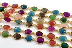 Multi Gemstone Bezel Chain Component 12mm Sold as by Beadspoint, $29.99