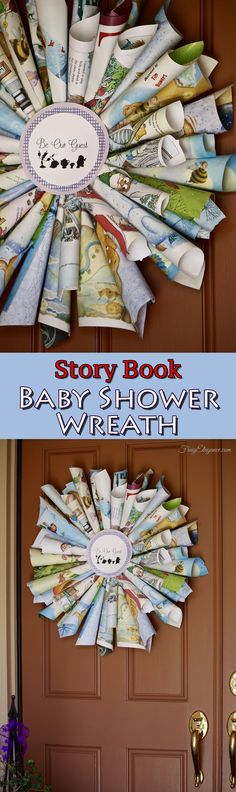 Our super easy to make Story Book Baby Shower Wreath is bright & colorful and perfect to welcome all the guests. Baby Shower Decorations For Boys, Baby Shower Themes, Baby Boy Shower, Shower Ideas, Owl Shower, Storybook Party, Storybook Baby Shower, Vintage Baby Mädchen, Baby Shower Vintage