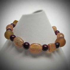 Brown Sugar and Maroon Glass Bead Stretch by LadyBirdJewelry, $16.00