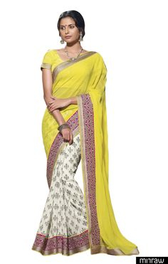 Gorgeous off white border chiffon saree