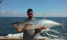 Mick with a huge kingfish caught fishing a mile offshore Fort Lauderdale.  Let's go fishing! www.FishHeadquarters.com #kingfish #FtLauderdale #fishing