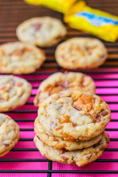 CHEWY BUTTERFINGER COOKIES~ 1 3/4 cups all-purpose flour, 3/4 tsp baking soda, tsp salt, 3/4 cup granulated sugar, cup (1 stick) butter softened, 1 large egg, 8 fun sized butterfinger candy bars chopped.