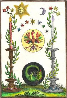 "An Alchemy artwork. ""Alchemy is the gentle acceleration of growth through the… Tarot, Alchemy Art, Esoteric Art, A Discovery Of Witches, Occult Art, Magnum Opus, Ancient Symbols, Magic Symbols, Sacred Symbols"