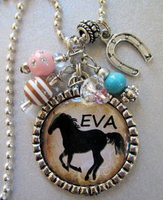 Horse PERSONALIZED NAME Silver Pendant Necklace OR Keychain- Cowgirl, Western, Horse Lover, Birthday Gift, Equestrian