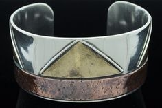 """""""Rare"""" (ca. 1980) Comstock (c), Sterling Silver, Mixed Metal Cuff Bracelet"""