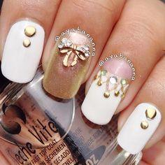 studs, stones and bow. Beautiful Nail Polish, Fabulous Nails, Perfect Nails, Hair And Nails, My Nails, Nails 2014, Golden Nails, Plain Nails, Nail Charms