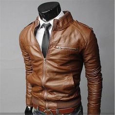 Cheap 2015 hombres de moda PU cuero chaqueta de moto hombres de cuello de gamuza…