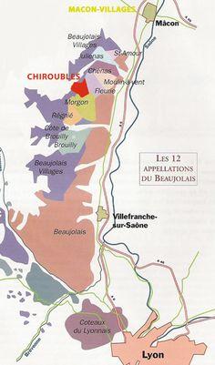 Carte vignoble beaujolais - Les 12 Appellations du Beaujolais