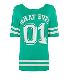 Teens Green What Ever Oversized Baseball T-Shirt  | New Look