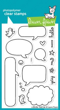In gift bags: make your own mini comic with a template with blank speech bubbles?  Lawn Fawn    Clear Stamp Set & Matching Dies    Approximate stamp sizes: [long word bubble] 3 3/8W x 1H  [scalloped thought bubble] 1 7/8W x 1
