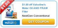 $1.00 off Valvolines Motor Oil AND FRAM Filter New coupons and deals for active seniors daily at www.SeniorSpotChicago.com