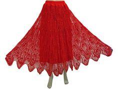 "Women's Skirt Red Crochet Work Bohemian Gypsy Designer Skirts 34"" Mogul Interior, http://www.amazon.com/gp/product/B0076424IY/ref=cm_sw_r_pi_alp_TK-vqb1CANBDM"
