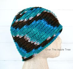 Adult Crochet Beanie brown and blue