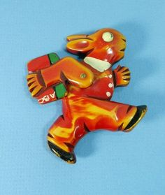 "Bakelite ""Off to School"" Articulated Rabbit Pin w/ Pivoting Arm:"