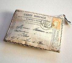 """postcard purses for your """"general bits and bobs"""". Helen prints them by hand on vintage cotton sheets from her farm in Lancashire, England."""