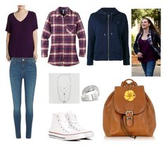 """""""Hannah Baker"""" by crookshanks138 on Polyvore featuring Bobeau, River Island, Mountain Khakis, Polo Ralph Lauren, Louis Vuitton, American Eagle Outfitters, Converse, Robe di Firenze and plus size clothing"""