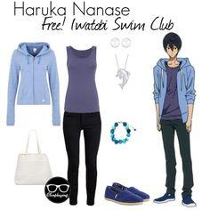 Casual cosplay of Haruka Nanase (from Free! Iwatobi Swim Club or Eternal Summer anime series)-- character inspired outfit Casual Cosplay, Cosplay Outfits, Anime Outfits, Anime Inspired Outfits, Character Inspired Outfits, Fandom Fashion, Geek Fashion, Disney Fashion, Anime Dress