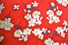 So Cute Red Daisy Print Stretch Cotton Fabric