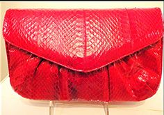 #Vintage red snakeskin purse with strap $98