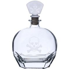 Skull and cross bone etched decanter
