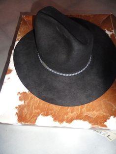 bb9879eca51 Resistol 4X Beaver Black Cowboy Western Hat USA Self Conforming Size 6 7 8  RIATA