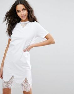 ASOS T-Shirt Dress with Lace Inserts