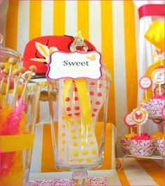 pink lemonade party candy buffet idea