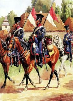 Cavalry Regiment of Chevaulegers Imperial Guard Lancers in field uniforms (1812-13). Fig. L. Rousselot.