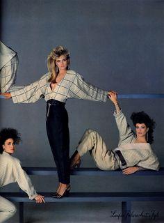 Versace 1984  Photographer : Richard Avedon  Models : Andie MacDowell, Kim Alexis & Kelly LeBrock