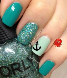 Mermaid-y Nails ESSIE Naughty Nautical, ORLY Jealous, Much? & Sparkling Garbage with a Make it Stick anchor decal  nautinails.blogspot.com