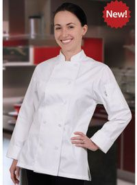 Women's Marbella Executive Chef Coat from Best Buy Uniforms. To see more women's chef uniforms click here http://www.bestbuyuniforms.com/chef-chef-uniforms-for-women/679-marbella-womens-executive-chef-coat.html