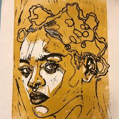 Two colour Lino print of Rihanna