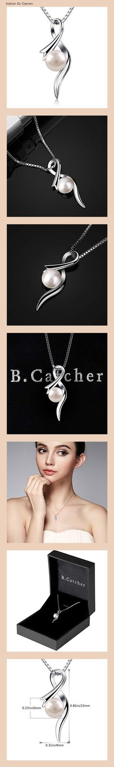 Ketten für Damen · B.Catcher Perle Halskette Kette Anhänger 925 Sterling  Silber Schmuck Süßwasser Zuchtperle Schmuck 45CM Kettenlänge e1a15abf12
