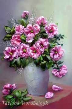 picture Vase with flowers Silk ribbon by SilkRibbonembroidery, €100.00