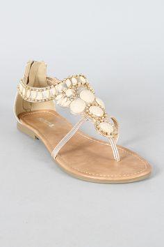 Soda Andrix-S Gemstone Thong Flat Sandal