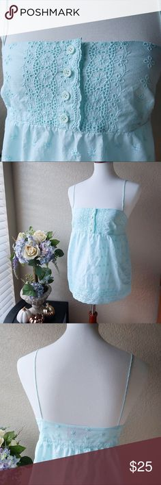 "Juicy Couture Blue Babydoll Eyelet Spaghetti Tank Juicy Couture Blue Babydoll Eyelet Spaghetti Tank  No rips, no holes, no tears  B: 16"" Strap Length: 6.5"" L: 15"" Juicy Couture Tops Tank Tops"