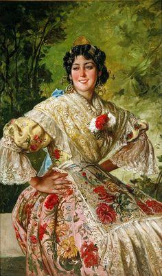 Spanish Artists, Spanish Painters, Great Paintings, Beautiful Paintings, Valencia City, Hispanic Art, Art Through The Ages, Spanish Woman, European Dress