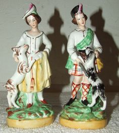 Antique Pair 19th c. Staffordshire Ware Victorian Woman & Dog Statue Figurines