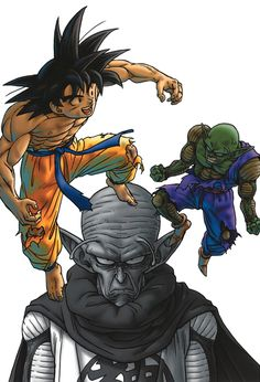 Goku, Piccolo, and Kami Dragon Ball Z, Bd Comics, Anime Comics, Manga Dragon, Popular Manga, Goku Vs, Dragon Quest, Fan Art, Jojo Bizzare Adventure