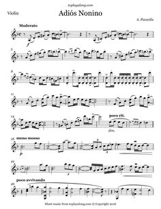 Adiós Nonino by Piazzolla. Free sheet music for violin. Visit toplayalong.com and get access to hundreds of scores for violin with backing tracks to playalong.