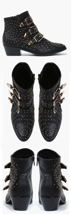 Black Studded Buckle Boots