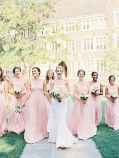 Blush pink is an eternally romantic color for your bridesmaids dresses.
