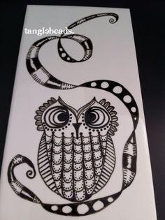 Tanglebeads - Owl Tangle Tile - Tania Tebbit