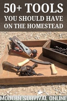 Every survival homestead needs essential homesteading tools (preferably non-electric) to perform manual tasks. Survival Food, Outdoor Survival, Survival Prepping, Survival Skills, Survival Quotes, Survival Items, Wilderness Survival, Disaster Preparedness, Atelier