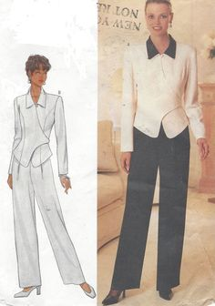 90s DW3 Womens Wrap Top or Jacket & Pants Butterick by CloesCloset
