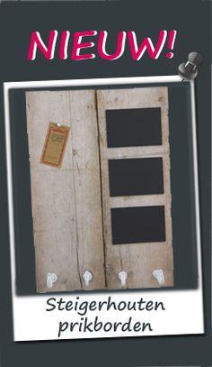 Prikbord steigerhout met magneetstrip en haken | Prikborden | Decoborden.nl