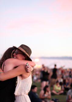 coachella crowd hug