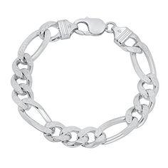 """Men's 10.7mm Solid 925 Sterling Silver Diamond-Cut Figaro Link Bracelet, 8""""…"""