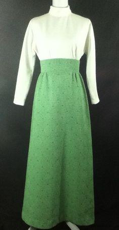 VTG 60s Green / White Long Sleeve Boho Hippie Prairie Hostess Gown Dress Sz Sm M #Prairiedress #maxiskirt #vintage