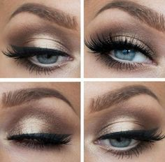 Beautiful long lashes and gold/brown eyeshadow on blue eyes is perfect. Get…